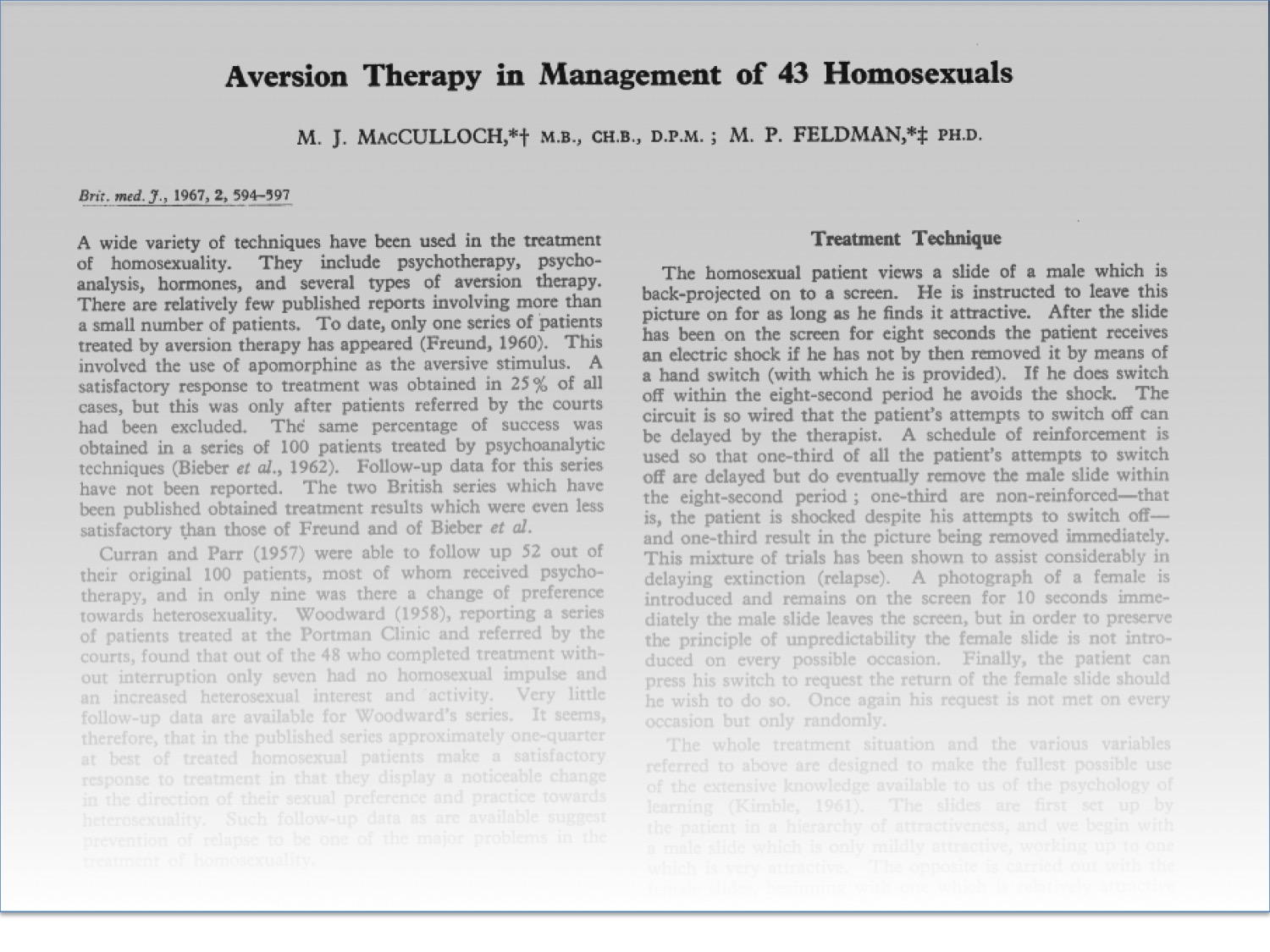 Aversion therapy for curing homosexuality 1962