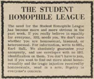 An ad for the Student Homophile League from the Columbia Daily Spectator, May 9, 1967.